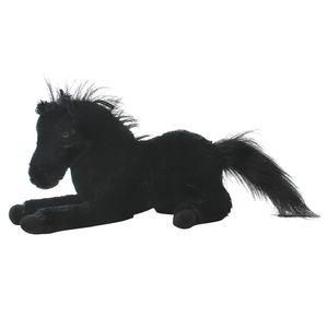 TE-Trend Pferd Plüschpferd liegend Anhänger schwarz Kuscheltier mit 33 cm Länge