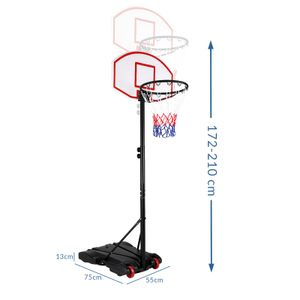 Mobiler Basketballkorb Höhenverstellbar 179-209cm 30kg Standfuß mit Transportrollen Basketballständer Ball Korb