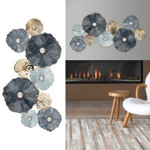 Wanddeko aus Metall Wandbild Wandskupltur Blüten Blumen blau/silber/gold B53xH90cm