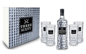 Three Sixty Set / Geschenkset ? Three Sixty Vodka 1L (37,5% Vol) + 4x Gläser