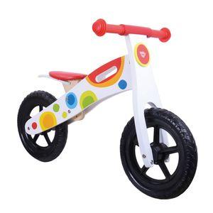Tooky Toy Holz Laufrad um Laufen zu erlernen - Hochwertige Qualität und höhenverstellbarer Sattel - Optimal für den Einstieg geeignet ab 3 Jahren - ca. 85 x 36,5 x 54,5 cm