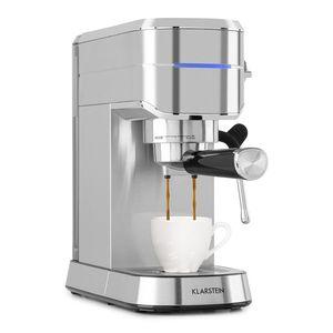 Klarstein Futura Kaffeemaschine ,Siebträgermaschine 1450 Watt , 20 bar ,Barista-Qualität ,Thermo-Block Heizsystem ,Zweifach Ausguss ,Fließstopp ,Milchaufschäum-Funktion ,abnehmbare Tropfschale ,1,25 Liter Wassertank ,rostfreier Edelstahl ,Tassenwärmer ,silber