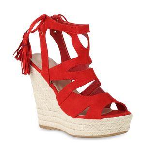 Mytrendshoe Damen Sandaletten Bast Keilabsatz Espadrilles Wedges Schuhe 814638, Farbe: Rot, Größe: 40