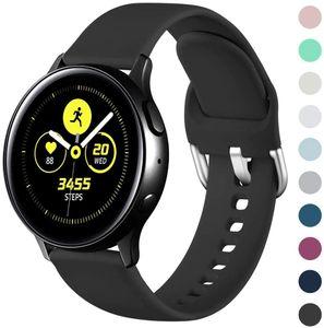 Armband Kompatibel mit Samsung Galaxy Watch Active/Active2 40mm/44mm, 20mm Weiche Silikon Ersatz Uhrenarmbänder Kompatibel mit Samsung Galaxy Watch 42mm/Galaxy Watch 3 41mm, Klein Groß, Schwarz, S