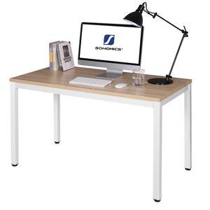 VASAGLE Schreibtisch Holz eiche-weiß 120 x 76 x 60 cm PC-Tisch leicht montiert stabiler und schöner Bürotisch LWD64N
