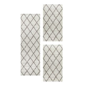 Design Shaggy Teppich Set Hochflor Bettumrandung Läufer Läuferset Creme 3 Teile, Farbe:Creme, Bettset:2 mal 60x110 + 1 mal 80x250