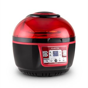 Klarstein VitAir Turbo - Heißluftfritteuse, Fritteuse, 1400 Watt, 9 L Garraum, fett-frei Frittieren, Backen, Grillen, Rösten, Halogen-Infrarot-Heizelement, Automatikprogramme, rot-schwarz