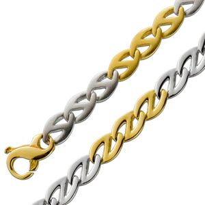Bicolor Gliederkette 6,2mm Armband Gelbgold Weißgold Goldkette 585 14 Karat Wendekette beidseitig