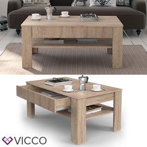 Vicco Couchtisch 110 x 65 cm Sonoma Eiche - Beistelltisch Sofatisch Kaffeetisch Wohnzimmertisch mit riesiger Schublade für Ordnung
