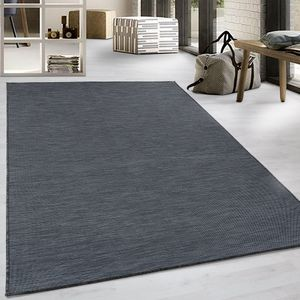 Flachgewebe Teppich Sisal Optik Indoor Outdoor Küche Terrasse Schwarz, Grösse:200x290 cm