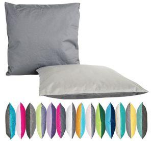 JACK 2-farbiges Wende Outdoor Lounge Kissen 45x45cm Dekokissen Wasserfest Sitzkissen Garten Stuhl Lotus Effekt, Farbe:Anthrazit - Grau