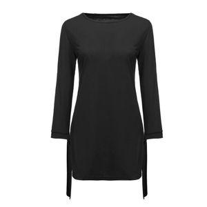 Damenmode O-Ausschnitt Solid Bow Elegant Straigth Kleid Spring Loose Mini Kleider Größe:XXXXL,Farbe:Schwarz