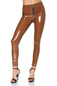 Damen Vinyl Hose Wet-Look Lederhose Lederoptik Coated Skinny Bikerlook Leggings, Farben:Hellbraun, Größe:S-M