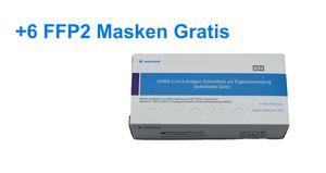 5 x Watmind  - Laientest Speichel (Lolitest) + BLITZVERSAND + Einfache Handhabung + Selbsttest - BfArM-Antigentest + 6 x HJR FFP2 Maske
