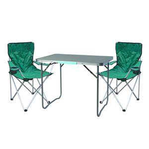 3-teiliges Campingmöbel Set Grün 2x stuhl inkl. Tasche + 1x Tisch