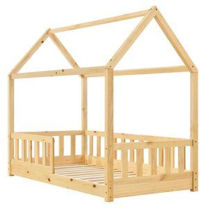 Juskys Kinderbett Marli 80 x 160 cm mit Rausfallschutz, Lattenrost und Dach - Hausbett für Kinder aus Massivholz - Bett in Natur