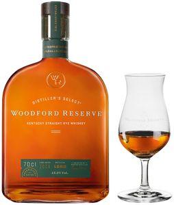 Woodford Reserve Kentucky Straight Rye Whiskey mit RITZENHOFF Nosing Glas   45,2 % vol   0,7 l