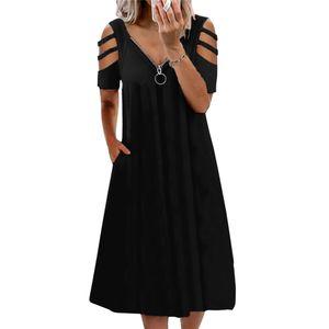 Plus Size Damen Sommer Cold Shoulder Midikleid Damen Pocket Shift Swing Kleid,Farbe: Schwarz,Größe:S