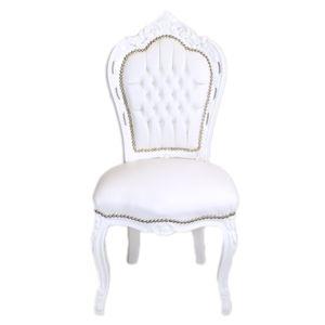 Barockstuhl Barock Stuhl weiß Kunstleder Armlehnstuhl Büro Stuhl Retro Premium Luxus Modern TOP