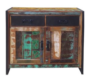 SIT Möbel Kommode | recyceltes Altholz mit Altmetall | bunt mit antikschwarz | B 90 x T 35 x H 85 cm | 03509-98 | Serie BALI