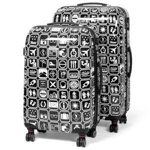 MasterGear Design Koffer 2er Set - schwarz / weiß , Größe: M & L - Airport One