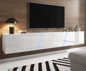 TV-Lowboard Slant in Hochglanz weiß Lack TV-Unterteil hängend / stehend XXL Board 240 cm inkl. LED Beleuchtung