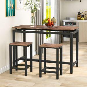 100 x40 x 90 cm Moderner Luxus Bartisch-Set, Bar Tisch und Stühle aus Eisenholz, Küchentisch und Stühle, Stehtisch und Barhocker, Restaurant, Stehtisch aus dunklem Holz Dunkler Braun