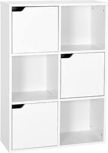 Meerveil Bücherschrank, Vielschichtiges Aufbewahrungsregal für Bücher und DVDs, Sechs Fächer mit 3 Türen, Standregal, Weiß