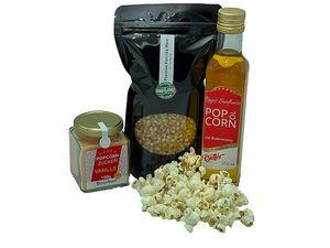 Hopser Food Fun Partyset 500g Premium Puffmais,250ml Popcornöl mit Butteraroma und 150g Popcorn Vanille Zucker Popcornset für Popcornmaschine