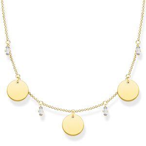 Thomas Sabo KE1960-414-39 Halskette Damen Collier Coins Weiße Steine Vergoldet