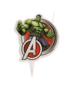 Hulk-Geburtstagskerze Avengers Kuchendeko grün-rot 7,5cm