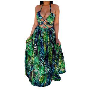 Damenmode Sexy Pullover Neckholder Wrap Print Ärmelloses Kleid Größe:L,Farbe:Grün