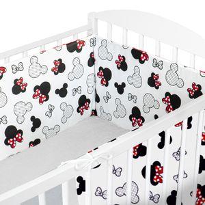 Nestchen Babybett Umrandungen 210x30 cm Baby-Bettumrandung Bettnestchen für Kinderbett 70x140 Beistellbett Gitterbett Umrandung (Baumwolle, Maus Motiv)
