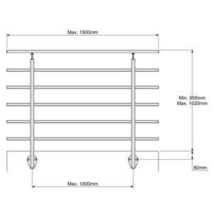DOLLE Modernes Geländer Set aus Aluminium   Seitliche Montage   Tropfenform   150 cm   Dark Grey   Als Brüstungsgeländer, Balkongeländer oder Terrassengeländer einsetzbar   Geeignet für den Innen- und Außenbereich