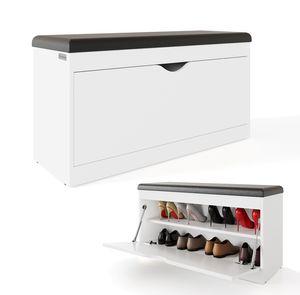 PLATAN ROOM Schuhschrank mit Sitzfläche 100 x 53 x 35 cm Schuhbank aufklappbar Sitzkommode Weiß Eiche Gold