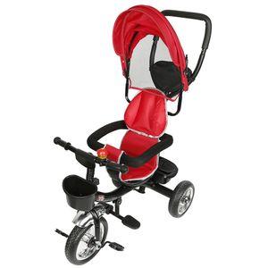 kombi Kinderwagen 4 in 1 Kombikinderwagen Kinderbuggy einstellbar Kinderdreirad Mit Fusspedal rot-OV
