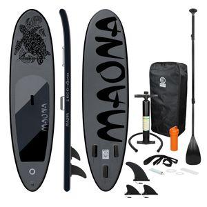 ECD Germany Aufblasbares Stand Up Paddle Board Maona | 308 x 76 x 10 cm | Schwarz | PVC | bis 120kg | Pumpe Tragetasche Zubehör | SUP Board Paddling Board Paddelboard Surfboard | verschiedene Farben