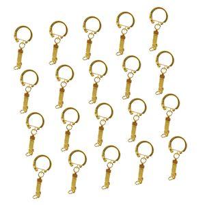 20x Schlüsselringe Kette Ringe Schlüsselanhänger mit Verbindungskette Binderinge 63mm Gold S-förmig