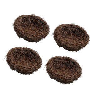 4x 10cm Wild Grass Nest Vogelnest  Handgemachte Rebe Natur Für Süßigkeiten Eier