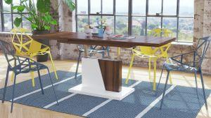 Design Couchtisch Tisch Grand Noir Nussbaum - Weiß matt stufenlos höhenverstellbar ausziehbar 120 bis 180cm Esstisch