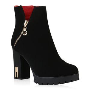 Mytrendshoe Damen Stiefeletten Plateau Boots Leicht Gefütterte High Heels 831610, Farbe: Schwarz, Größe: 38