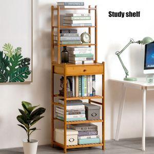7 Ebenen Bücherregal Bambus Haushaltsregal Aktenregal Standregal Aufbewahrungsregal mit Schubladen