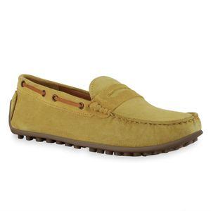 Mytrendshoe Herren Slippers Mokassins Ösen Profil-Sohle Schlupf-Schuhe 836200, Farbe: Dark Yellow, Größe: 42