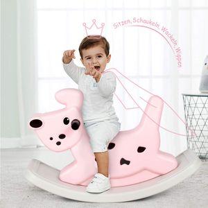 COSTWAY Schaukelpferd Hunde, Schaukeltier Baby, Schaukelspielzeug mit Musik und Licht, Wippspielzeug fuer Kleinkinder ab 6 Monaten Rosa
