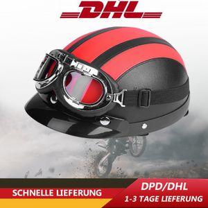 Universal Jethelm Motorradhelm Rollerhelm Retro Leader Helm + UV-Brille 54-60CM