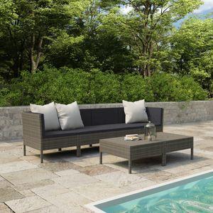 Balkonmöbel Set für 6 Personen, 6-TLG. Garten-Lounge-Set/Sitzgruppe/Gartengarnitur mit Auflagen Poly Rattan Grau☆1208