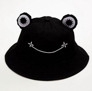 Cartoon niedlichen Frosch Fischerhut männliche Dame Kind im Freien faltbare Sonnenhut Fischerhut Lässiger Hut (schwarz)