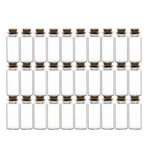30er Set Gewürzgläser mit Korken-Deckel 30 ml Rund - Gewürzdosen aus Glas - Vorratsgläser