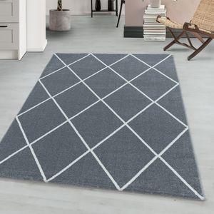 Teppium Kurzflor modern Teppich, Wohnzimmerteppich, Raute Linien, Rechteckig SILBER, Farbe:SILBER,240 cm x 340 cm