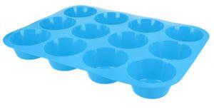 Muffinblech Muffinform aus Silikon Cupcake Muffin Backform Silikonform für 12 Muffins in Blau